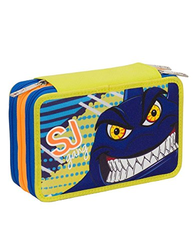 Astuccio scuola seven - sj animals - 3 scomparti - pennarelli matite gomma ecc. blu giallo