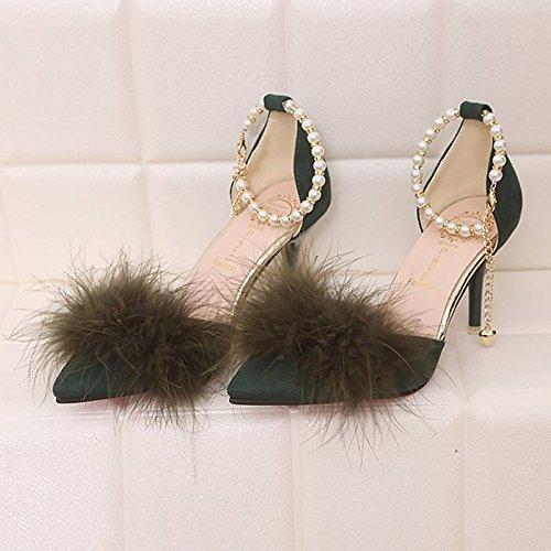 DIMAOL Scarpe Donna Cashmere Comfort Molla Tacchi Stiletto Heel Punta Giù per Casual Verde Giallo Nero Verde