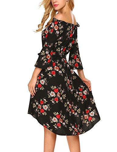 HOTOUCH Damen Schulterfreies Kleid Abenkleid Cocktailkleid Asymmetrisch Festlich Partykleid Skaterkleid Blumenmuster Mit Gürtel Schwarz
