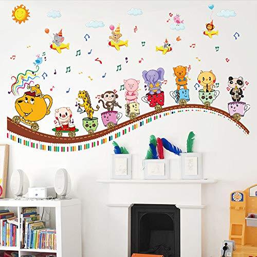LQRRHY Tier Zug Wandaufkleber Cartoon Kinderzimmer Kindergarten Musik Klassenzimmer Wanddekoration Aufkleber