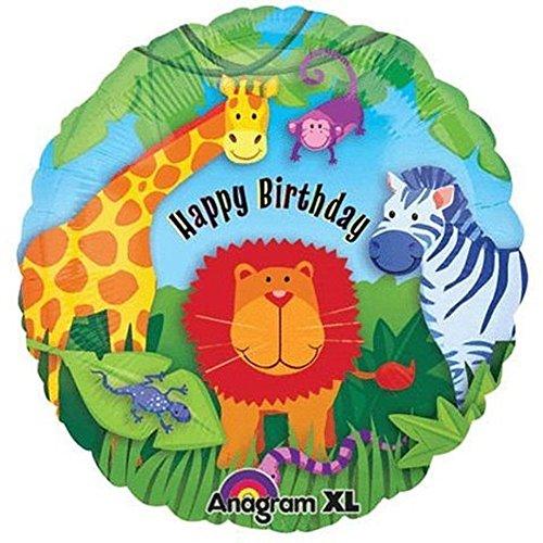 BIRTHDAY SAFARI * für Kindergeburtstag // Kinder Geburtstag Folien Ballon Party Helium Deko Ballongas Motto Löwe Zebra Giraffe (Zebra-geburtstag)