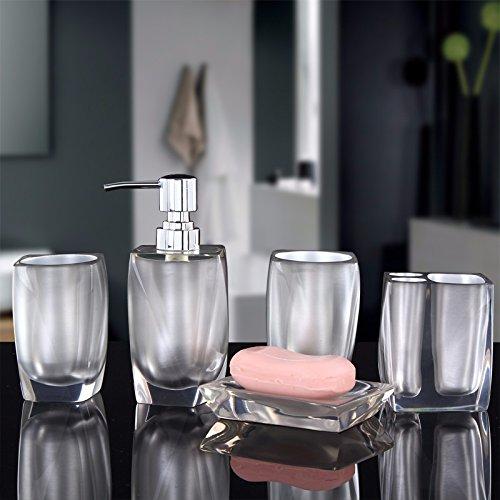 ZHGI Cinque pezzi di di stile Europeo e bagno rubinetteria set-bagno semplice mug nuovo del regalo di Housewarming forniture bagno,argento