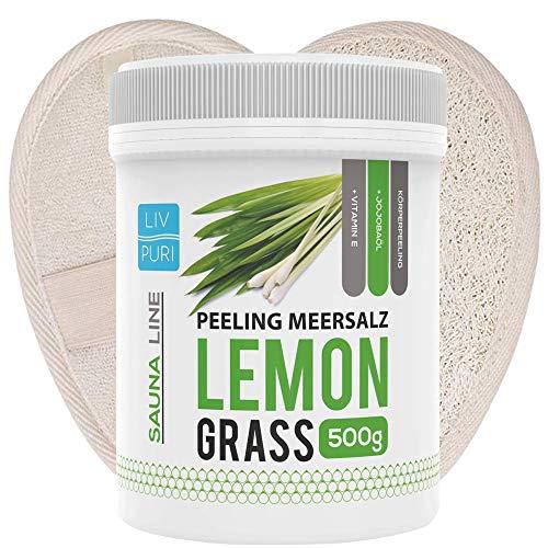 Saunasalz Lemongrass mit Luffa-Pad ideale als Geschenkeset   Körperpeeling Natur Luffa Schwamm für Bad und Dusche