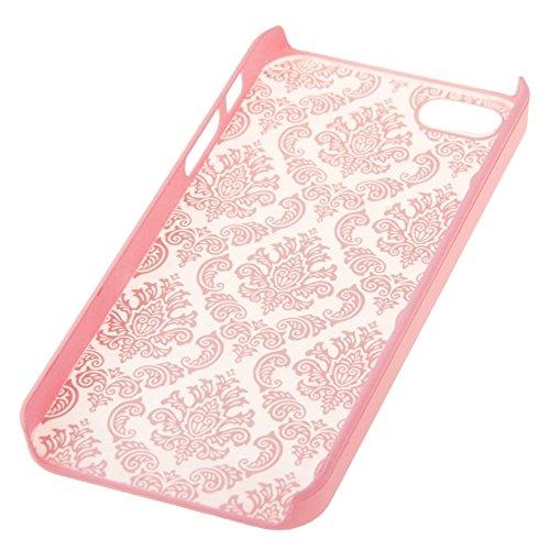 Retro Palast prägeartiges Blumen-Beschaffenheits-Muster-schützende harte Fall-Abdeckung für iPhone 5 u. 5S u. SE by diebelleu ( Color : Red ) Pink