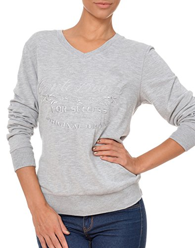 M.Conte Damen Sweat-Shirt Sweater Sweat Blau Anthranzit Korale Grau Melange Größe XL