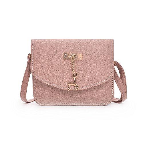 VJGOAL Damen Schultertasche, Dame Mädchen Leder Satchel Handtasche Schultertasche Messenger Crossbody Kleine Tasche Frau Geschenk (20 * 6 * 17cm, T-Rosa)