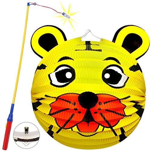 Preisvergleich Produktbild Unbekannt Set: Laterne / Lampion + LED Laternenstab - Löwe - Tiger - Teddy Bär - für Kinder - Papierlaterne aus Papier - Lampe - Laternen Lampions - Kerzen Kerze - Figu..