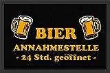 Zerbini con testo umoristico 'Bier Annahmestelle Birra tedesca Ecologiche Point camicie polipropilene 60 x 40 cm