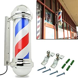 HomeSmith 30 Classic Barber Shop Pole Light Red White Blue Rotating Stripes Hair Salon Shop Signs Attractive Symbol by HomeSmith