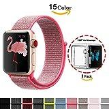 Chok Idea Armband für Apple Watch, [mit klarer TPU Hülle], 38mm Nylon Sportöse mit Klettverschluss verstellbares Verschlussband für iWatch Apple Watch Serie 3/2/1 Sport und Edition,Hot Pink