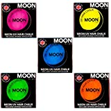 Moon Glow -Tiza para cabello UV de neón3.5gSet de 5 colores -produce un brillo increíble bajo la iluminación/retroiluminación UV!