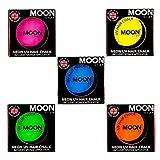 Moon Glow -Neon-UV-Haarkreide3.5gSet mit 5 Farben–ein spektakulär glühender Effekt bei UV- und Schwarzlicht!