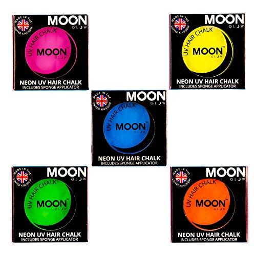 Moon Glow -Neon-UV-Haarkreide3.5gSet mit 5 Farben-ein spektakulär glühender Effekt bei UV- und Schwarzlicht!