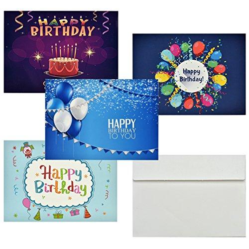 Geburtstagskarten, Cozyswan Half-Fold Grußkarten Geburtstagskarten mit weißen Umschlägen für jeden Anlass enthalten, 13x18cm, Packung mit 36 Stück