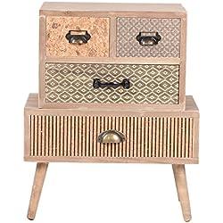 VIVA HOME Cajonera de madera, 48 x 30 x 58 cm, Mueble de almacenaje para salón, comedor o dormitorio, con 4 cajones diferentes, Color claro