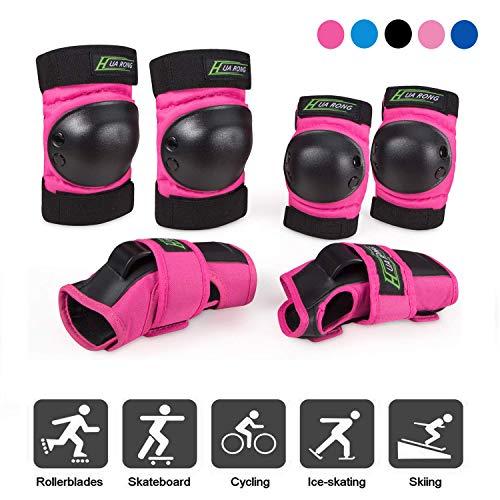 Everwell Protektoren Set, 6 in 1 Profi Schutzausrüstung für Kinder & Erwachsene - Verstellbar Knieschoner Ellenbogenschützer Handgelenkschoner für Inliner Skaten BMX Skateboard