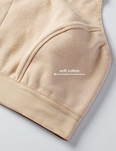 Gratlin Damen Baumwolle Still BH - ohne Bügel Große Größen Schwangerschafts BH Schwarz/Beige