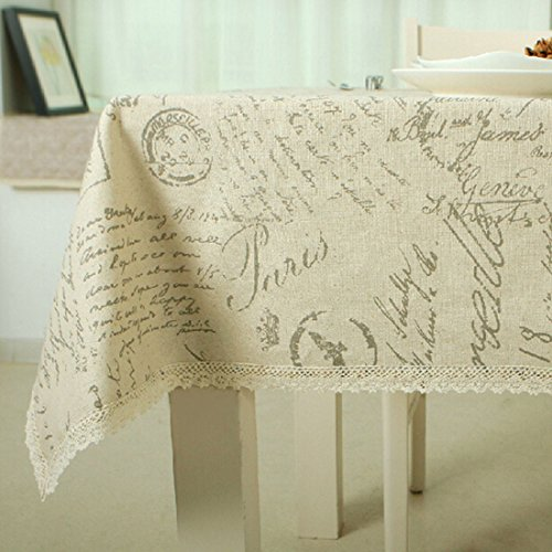 Leinen Baumwolle Tischdecke Spitze Edge Buchstabe bedruckt Staub Proof Tischdecke (Spitze Buchstaben)