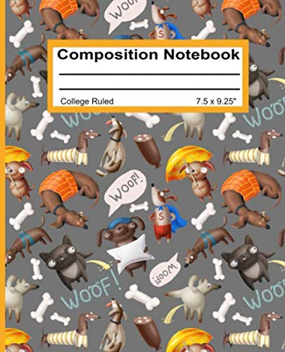 Composition Notebook: College Ruled Blank Writing Journal Notebook Back to School Supplies Pad Diary for Girls Boys Kids Students Teachers Teens Cute Dogs Pattern