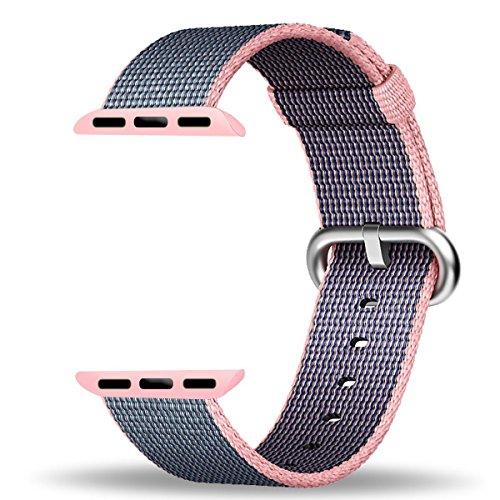 Preisvergleich Produktbild Apple Watch Armband,  PUGO TOP Neueste Fine Woven Nylon Gurt Ersatz Handgelenk Band für Apple Watch Series 2 und Series 1 alle Modelle (38mm Light Pink / Midnight Blau)