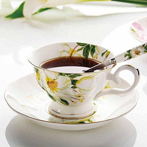 SSBY Ensemble, vintage porcelaine cuillère café tasse soucoupe tasse à café britannique la tasse à café de porcelaine style européen , yellow