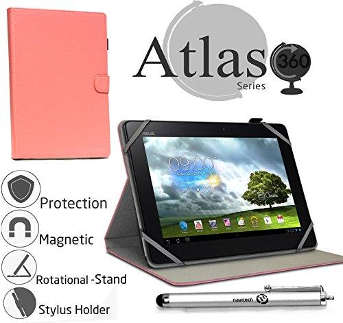 Navitech stilvolles rotierbares 10 Zoll Stand Case Cover Hülle in Pink mit Stylus Pen für das Odys Lux 10 Tablet-PC