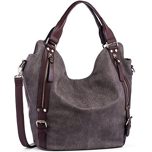 iYaffa Handtaschen Damen Taschen Schultertaschen Umhängetaschen Handtaschen für Frauen PU Leder Tote Hobo Taschen Damen Henkeltaschen Groß (L:31CM * H:36CM * W:15CM) Dunkelgrau (Grau Tasche Leder)