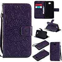 Microsoft Lumia 650 Case, KKEIKO® Microsoft Lumia 650 Flip Leather Case [with Free Tempered Glass Screen Protector], Shockproof Bumper Cover and Premium Wallet Case for Microsoft Lumia 650 (Purple)