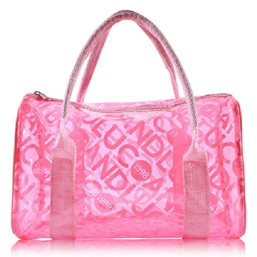 TININNA Moda Estate trasparente PVC Beach Tote Bags Gelatina Sacchetto Borsa per le ragazze donne Blu Rosa