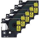 5 Kassetten D1 40918 schwarz auf gelb 9mm x 7m Schriftband kompatibel für DYMO LabelManager LM 100, 110, 120P, 150, 155, 160, 200, 210D, 220P, 260, 260D, 280, 300, 350, 350D, 360D, 400, 420P, 450, 450D, 500TS, PC, PC2, PnP, PnP Wireless, LabelPoint LP 100, 150, 200, 250, 300, 350, LabelWriter LW 400 Duo, 450 Duo Beschriftungsgerät