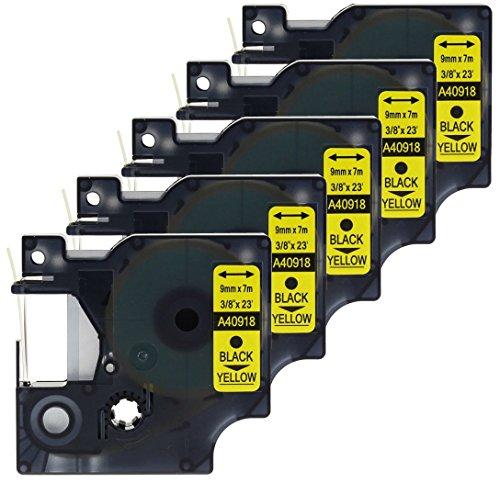 5x Schriftband-Kassetten D1 40918 S0720730 schwarz auf gelb 9mm x 7m kompatibel für DYMO LabelManager LM 160 210D 220P 260P 280 360D 420P 450D 500TS PnP MobileLabeler LabelPoint LabelWriter LW 450 Duo -