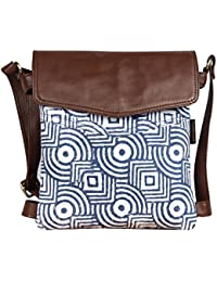 Pulpypapaya's Genuine Leather And Printed Canvas Sling Bag Cum Shoulder Bag For Women And Girls- Blue & Brown