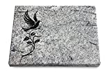 Generic Grabtafel, Grabplatte, Grabstein, Grabkissen, Urnengrabstein, Liegegrabstein Modell Pure 40 x 30 x 3-4 cm Viskont-White-Granit, Poliert inkl. Gravur (Sandstrahl-Ornament Taube 3)
