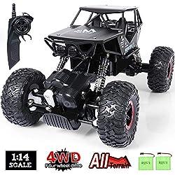 SGILE 1:14 RC Voiture Télécommandée - 4WD 2.4Ghz Tout-terrain Camion Buggy - à Grande Vitesse Voiture de course Télécommandée de Noir