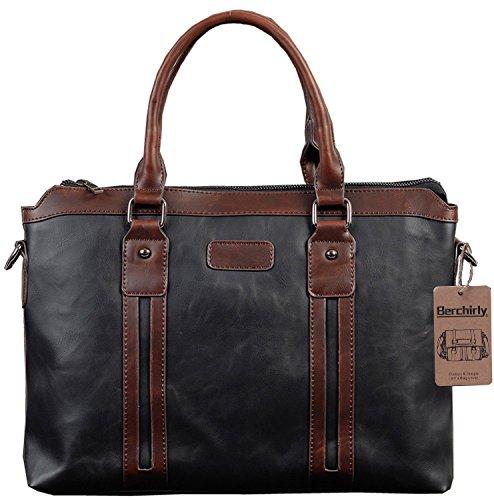 Faux-leder-schulter-handtasche (berchirly Herren Baumwolle Leinwand & PU Leder Laptop Messenger Handtasche Schulter Aktentasche Tasche schwarz schwarz Faux Leather)