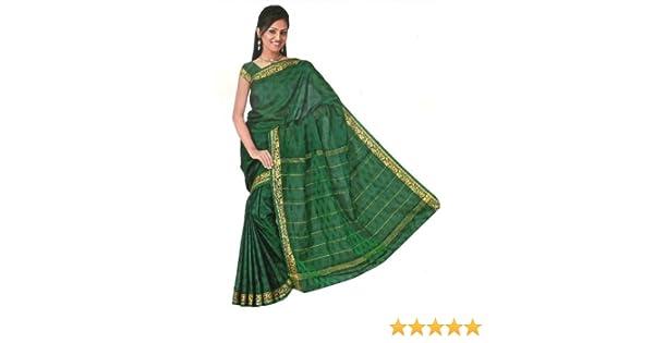 S bis XXL Trendofindia Fertig gewickelter Bollywood Sari Indien Tricolor Gr/ün Gr