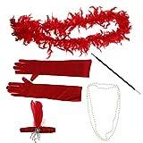 MagiDeal 5er-Set 20er Jahre Gatsby Accessoires Flappers Set Inkl. Feder Stirnband Halskette Handschuhe Zigarettenspitzen und Federboa - rot