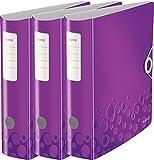 Leitz Qualitäts-Ordner 180° Active WOW, A4, Runder Rücken, 8,2 cm Breite, Kunststoff, Gummibandverschluss (3er Pack, violett metallic)