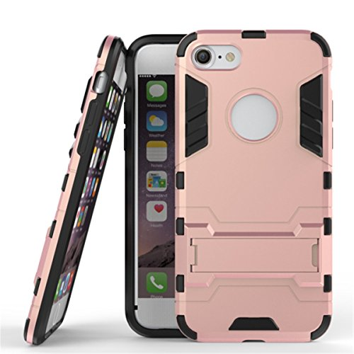 iPhone 7 Coque, Apple iPhone 7 Coque, Lifeturt [ Gris ] Étuis De Premium Kickstand Bumper Case [HEAVY DUTY] Corps Plein Robuste Hybride Double Couche De Protection Cover Bumper Case La Protection Ulti E2-Rose