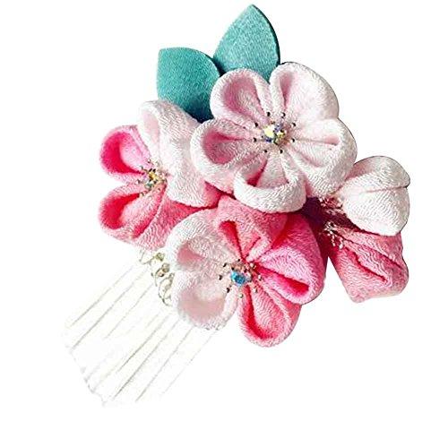 Fait à la main style japonais exquis kimono fleur pince à cheveux fleur [U]