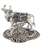 Rci Handicrafts Kamdhenu Cow And Calf Silver Oxidized Handmade Spiritual Showpiece Figurine