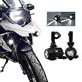 Faretti LED Moto Supplementari, SUPAREE Fari Antinebbia Moto faro Moto LED Anteriore per Moto Universale-40W 6000LM 6000K (2 pezzi)