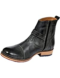 Style Centrum Men's Black Leather Boots - B00L48OE0E