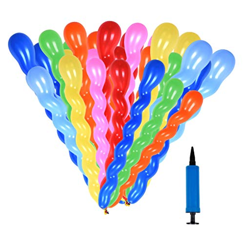 SWZY Spirale Luftballons Set, 200 Pack Long Ballons Verdrehen und Modellieren Latex Ballons mit Pumpe für Party Supplies und Dekorationen