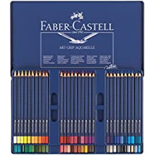 Faber Castell Lápices de colores Art Grip Aquarelle, 60 estuche de metal