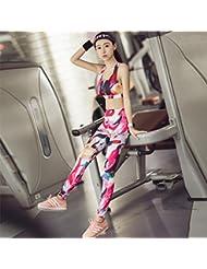 estiramiento de la impresión Europa y América apretada ropa de entrenamiento traje pantalón de yoga de dos piezas sujetador deportivo de secado rápido , C , m