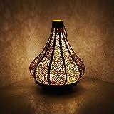 albena shop 71-5240 orientalisches Windlicht Laterne 30cm Metall (Jadoo Schwarz mit LED Lichterkette)