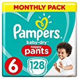 Pampers Baby-Dry Nappy Pants Size 6, 128 Nappy Pants, Monthly Saving Pack, Easy-On with Air Channels for Up to 12 Hours of Breathable Dryness, 15+ kg