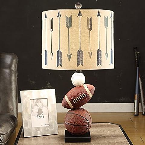 HYNH Lámpara de mesa moderna y creativa minimalista dormitorio de estudio ojo Lámpara de mesa lámparas de cabecera de la personalidad del muchacho del baloncesto de los niños estadounidenses (dos tipos opcional) Lámpara de mesa para niños ( Diseño : A