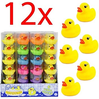 12 MINI COLOUR BATHTIME RUBBER DUCK BATH TOY SQUEAKY WATER PLAY FUN KIDS TODDLER